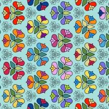 In vielen Farben ausgemalte Blüten
