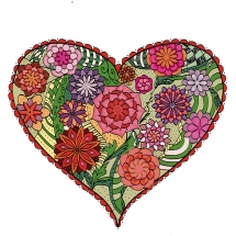 Herzen mit gemalten Blumen