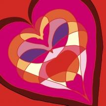 Großes Herz in Rottönen