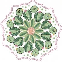 Mandala mit Kakteen in Grüntönen