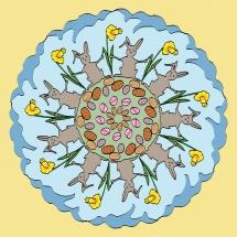 Mandala mit Osterhasen und Narzissen