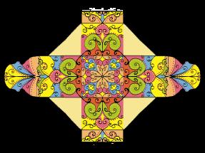 Colorierte Geschenkbox zum Ausschneiden
